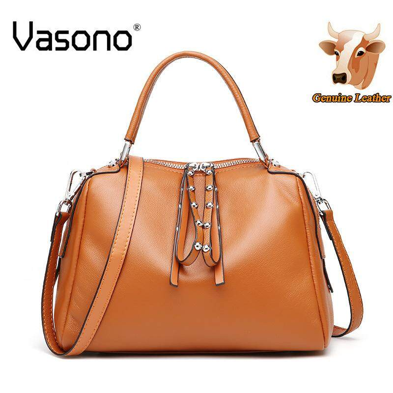 【Vasono】 Top Grain 100% Genuine Cow Leather Sling Bag Women Top-Handle Bag Women Single Shoulder Bag Women Cross Body Bag Lady