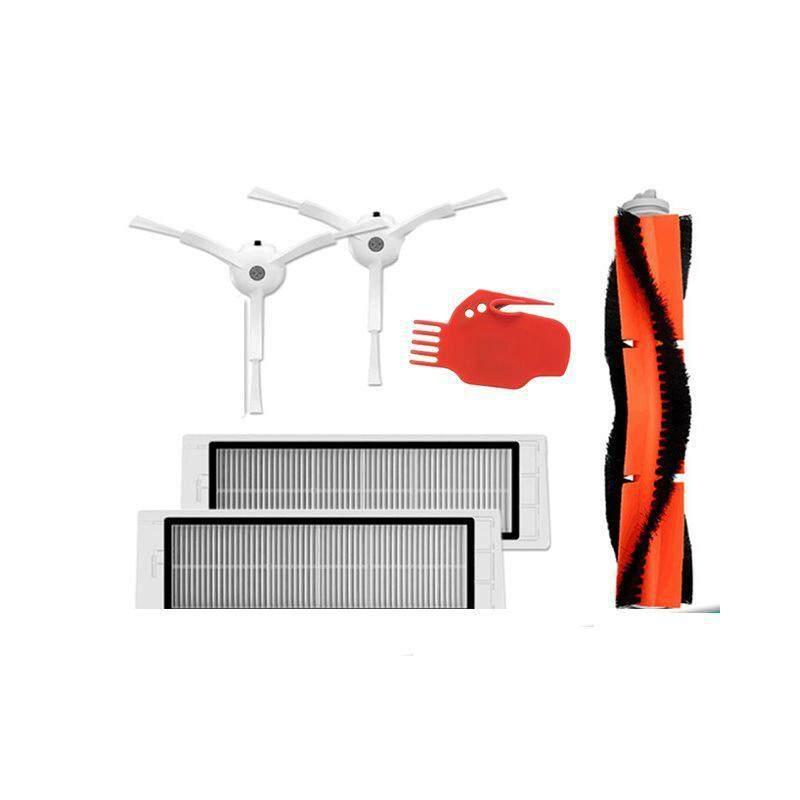 6pcs Vacuum Cleaner parts 2 x side brush + 2 x HEPA filter + 1 x main brush + 1 x tool Suitable for Xiaomi Mi Robot Singapore
