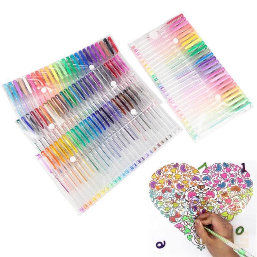 100 Colors Gel Art Pens Art Glitter Neon Metallic Ballpoint Craft Drawing Marker - Intl By The First Store.