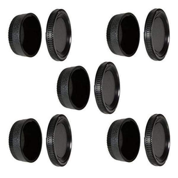 CamDesign 5 SET Camera Body Cap & Camera Lens Cover for Nikon D7500 D750 D3400 D3300 D3200 D5500 D5300 D5200 D5100 D5000 D7200 D7100 D7000 D610 D600 D60 D70 D80 D90 D5, D500, D4s, D4, D3, D810, D800,