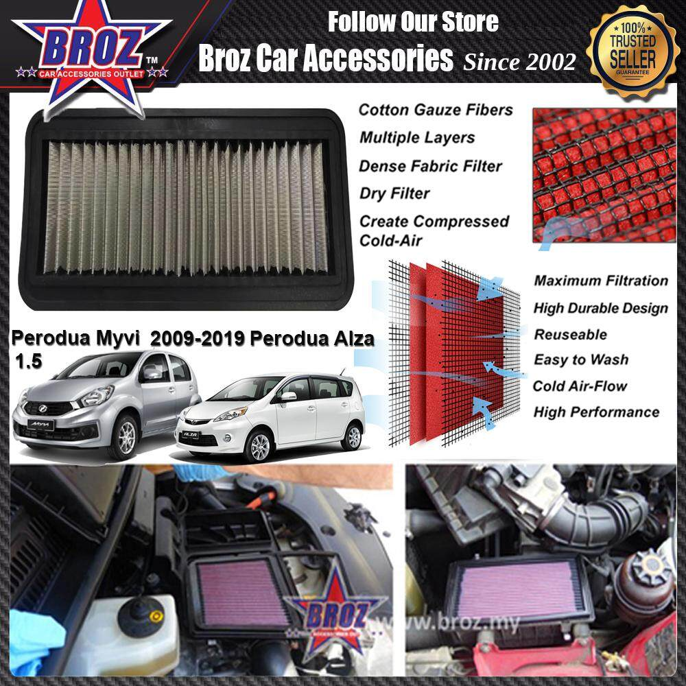PERODUA MYVI 1.5 & ALZA RACING PERFORMANCE DROP IN CAR REUSABLE AIR FILTER (SAVE FUEL,SAVE MONEY & INCREASE ENGINE POWER) - H 2CM X W 12.5CM X L 31CM - Increases Horse and Response Power: 5% - 20%