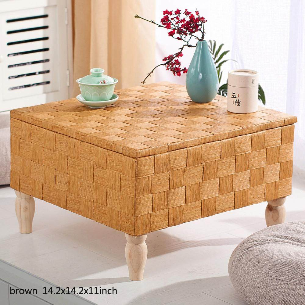 Japanese Style Handcrafted Eco-Friendly Breathable Padded Knitted Tea Table Hand Woven Tatami Coffee Table, Square Table, 14.2x14.2x11inch