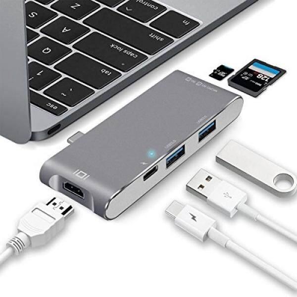 Hub USB Wikoo Usb C Hub, Multiport Tipe C Adaptor Penghubung dengan TYPE C Port Pengisian Daya, Dua USB 3.0 Port SD/Micro Pembaca Kartu SD & HDMI untuk MacBook Pro 2016/2017 & Type C Perangkat-Intl