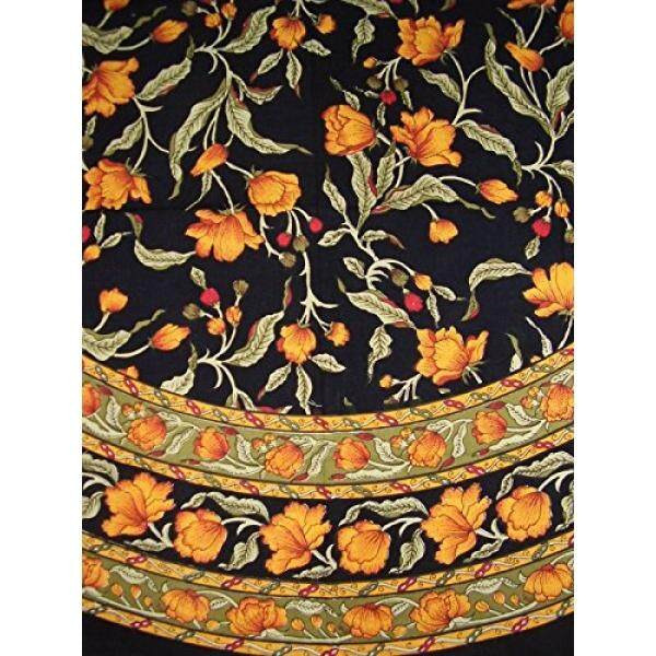 French Floral Round Cotton tablecloth 70 Amber on Black