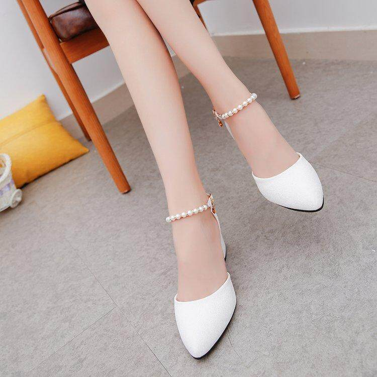 Women Sandals Ankle-Wrap Pointed Toe Summer Shoes Women Buckle Med Heels Sandals Females Shoes By Anron C.