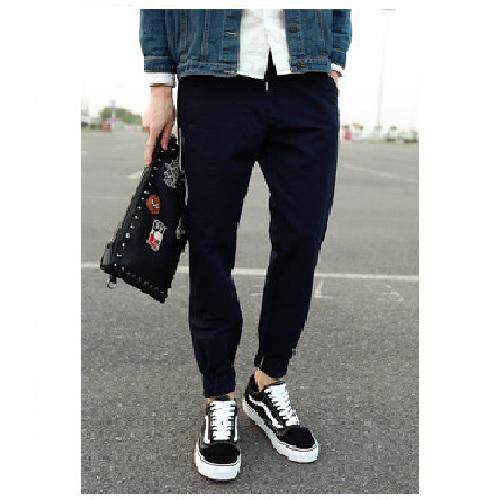Men's Korean-style Casual Harem Tapered Embroidered Long Pants