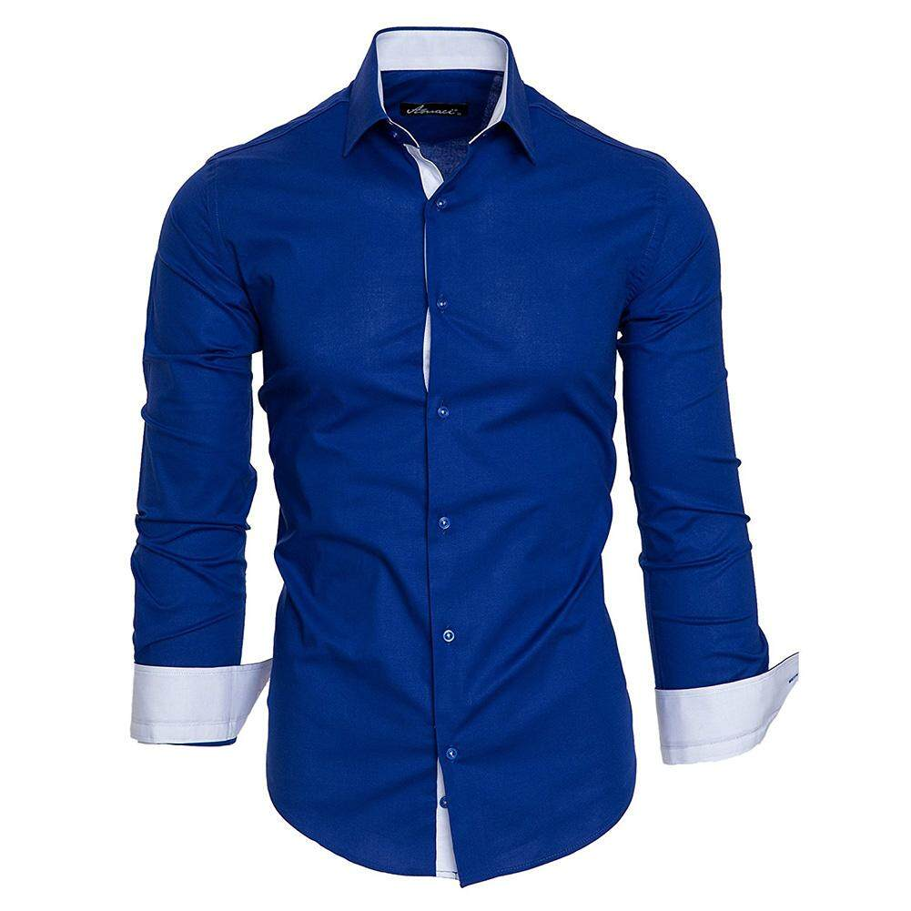 Outop Men Classic Slim Long-Sleeved Shirts Hit Color Lapel Collar Casual Tops By Outop Store.