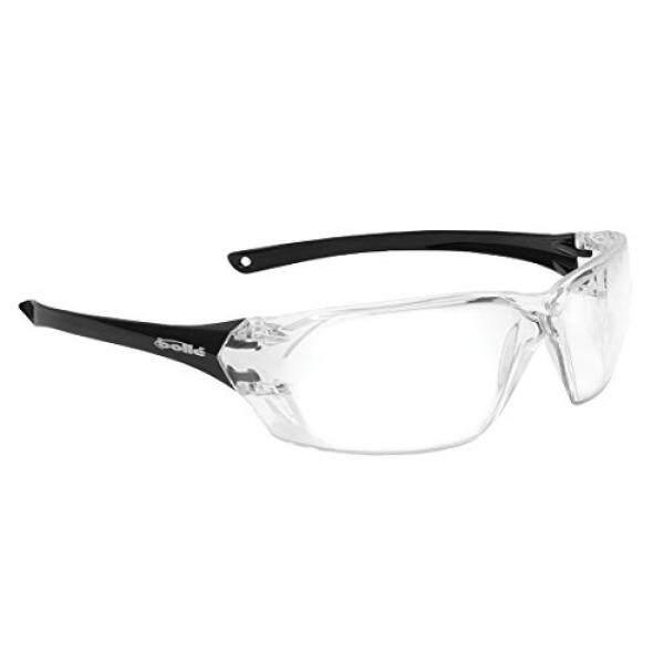 Bollé Safety 253-PR-40057 Prism Kacamata Pengaman dengan Mengkilap Hitam Kacamata Tanpa Bingkai dan Clear Anti-Scratch/Anti-Lensa Kabut-Intl