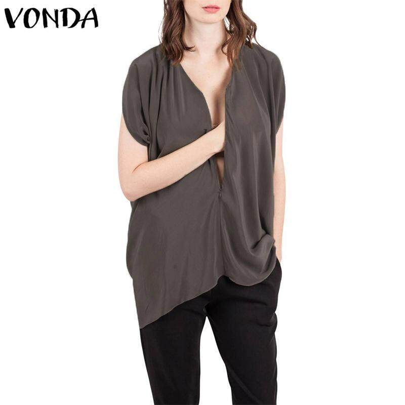 37833743fb3e6 VONDA Maternity Women Short Sleeve Nursing Tops Front Zip Breastfeeding  Shirt Blouse
