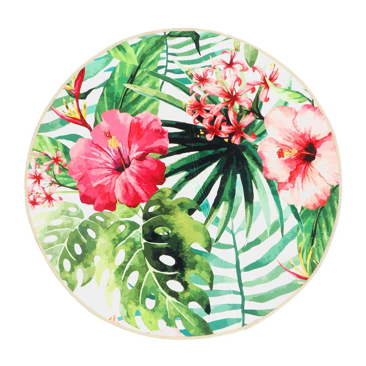 80cm Tropical Palm Leaves Floral Cactus Round Floor Mat Living Room Area Rugs Carpet