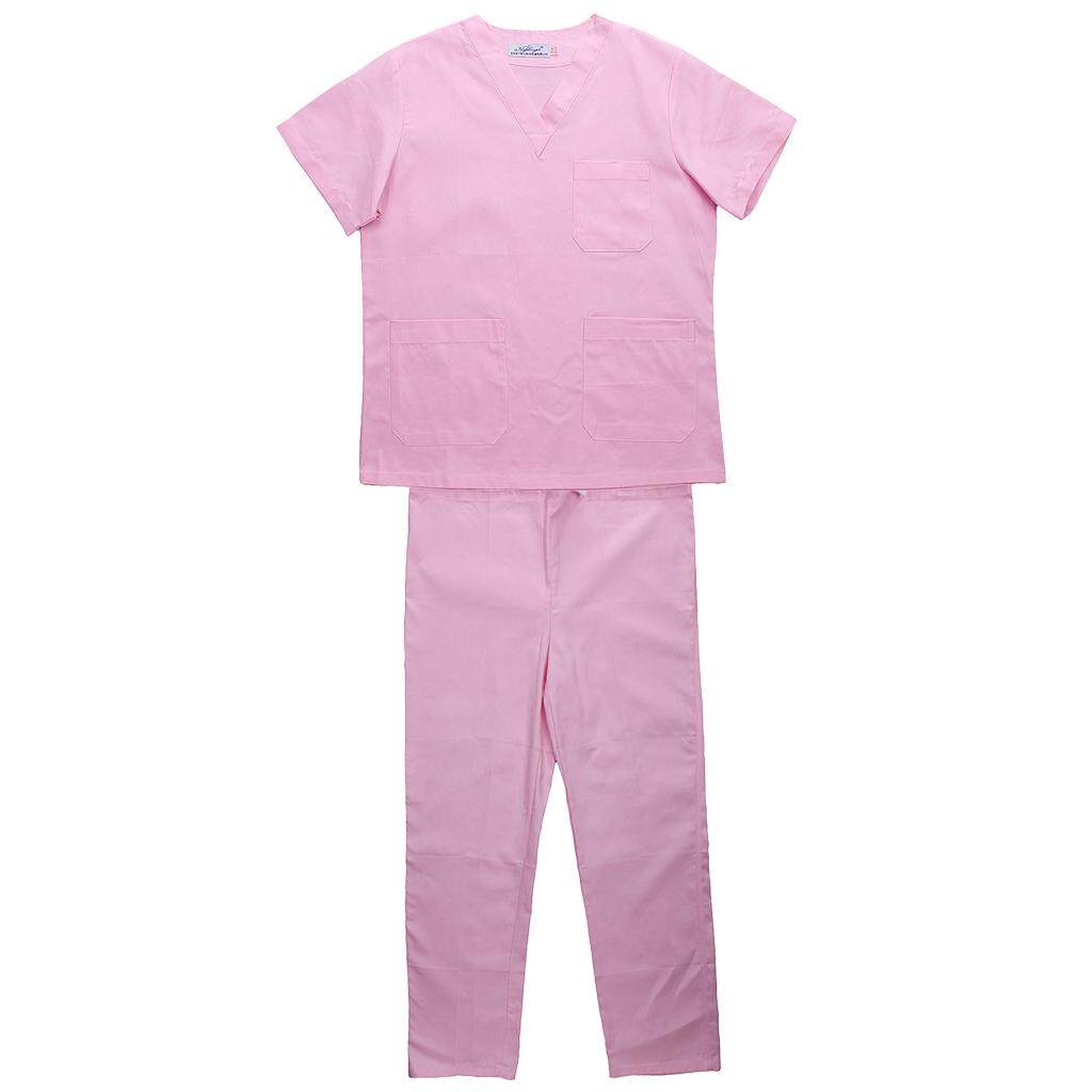 MagiDeal Men Women Medical Spa Nursing Clinic Scrub Sets Hospital Uniform L Pink