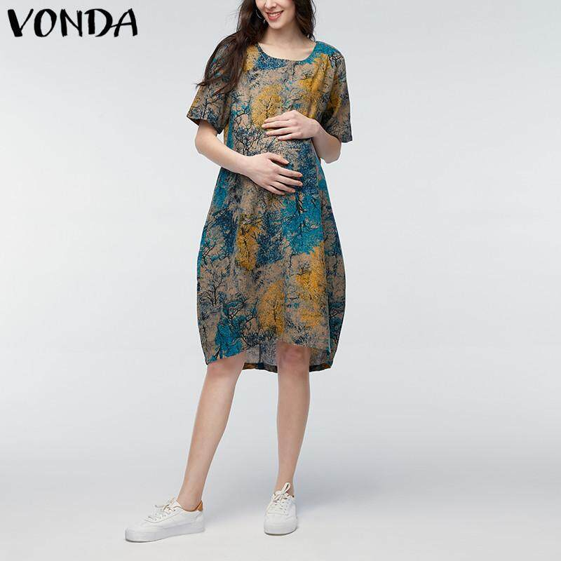 e7f67ee0cf4 VONDA Summer Women Vintage Floral Print Casual Loose Short Sleeve Maternity  Dress