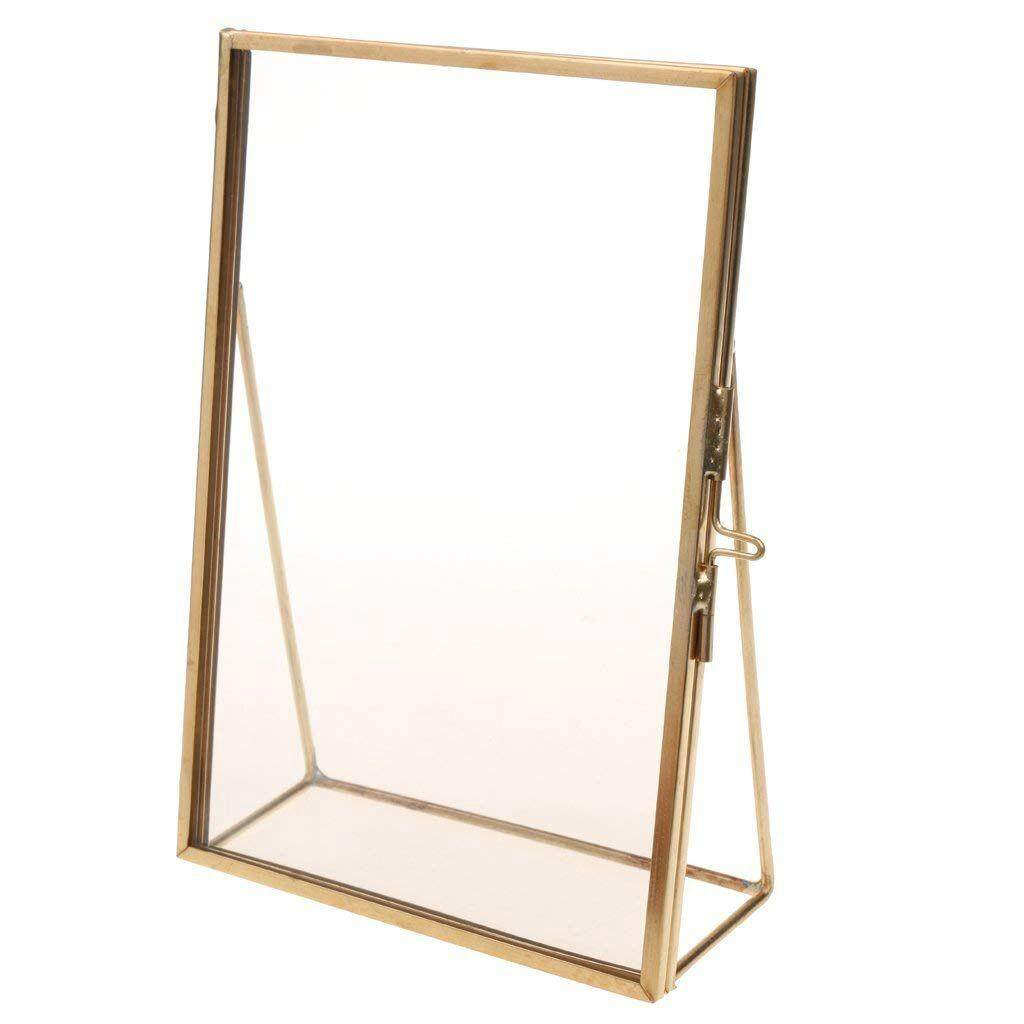 Simple Antique Rectangular Freestanding Transparent Glass Photo Frame for Home Decoration - Gold, 12.7 x 17.8 cm Free Shipping