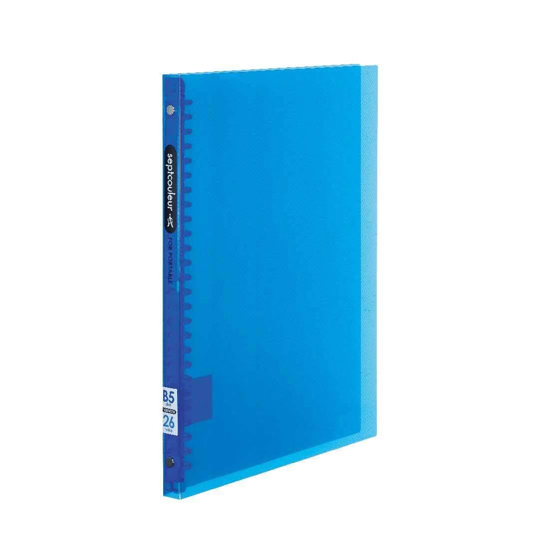 SEPT COULEUR B5, 26 Holes, 60 Sheets, 15 Spine Width -  Blue