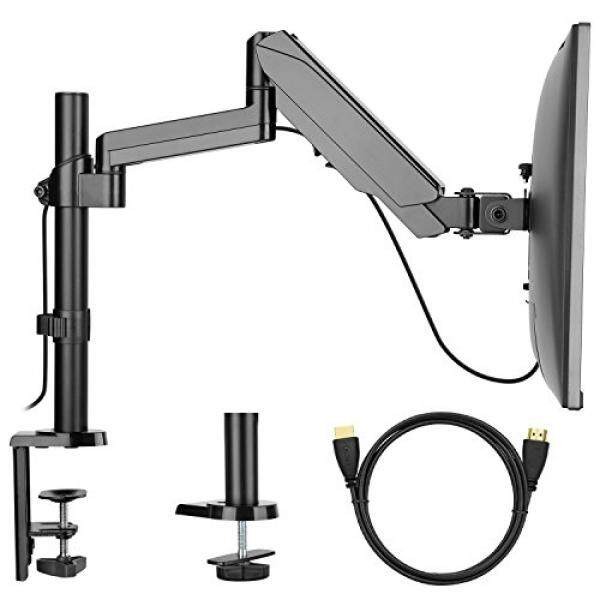 Single Arm Monitor Mount Stand, Fully Adjustable Desk VESA Mount with Clamp, Grommet Base, HDMI Cable for LCD LED Screens up to 32 inch, Gas Spring Articulating Full Motion Arm Holds up to 17.6lbs - intl
