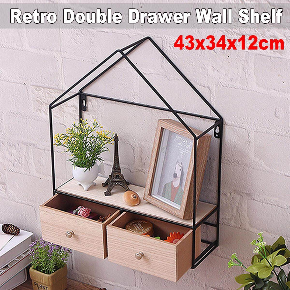 Retro Triangle House Double Drawer Wood Iron Craft Wall Shelf Rack Storage Industrial Style