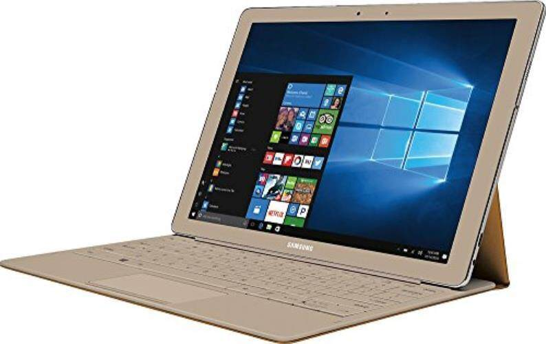 Samsung Galaxy TabPro S Convertible 2-in-1 Laptop / Tablet, 12 FHD+ Touchscreen - Intel Core m3-6Y30 - 8GB DDR3 Memory - 256GB SSD - Windows 10 - Bluetooth – Webcam - Gold (Keyboard Included) - intl