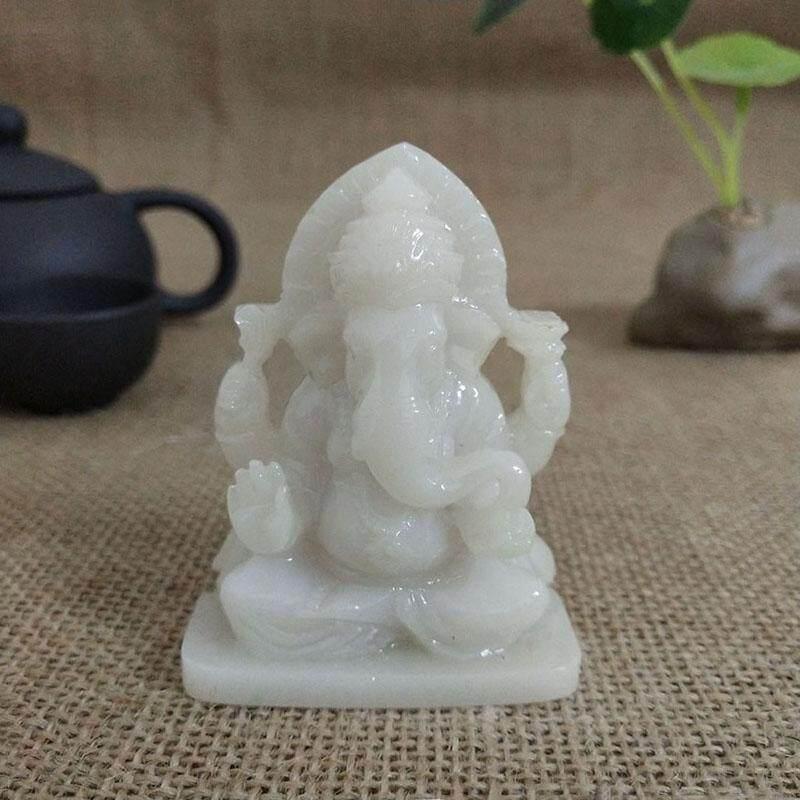 Lord Ganesha Statue Buddha Elephant Sculpture Man-made Jade Stone Resin Craft Home Decor - intl