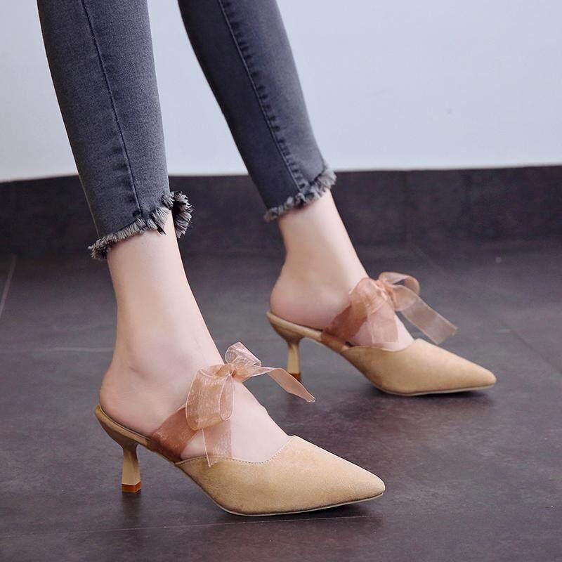 Lazy Half Drag 2018 New Big Size 34-43 Dropship Thin High Heel Sandals Shoes 180c3bdde868