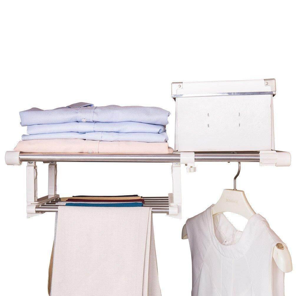 Baoyouni Expandable Closet Tension Shelf Adjustable Storage Rack Organizer Clothes Pants Hanger Metal Rod for Bathroom Kitchen Cupboard Wardrobe Bookshelf 29.5-51.1, Ivory