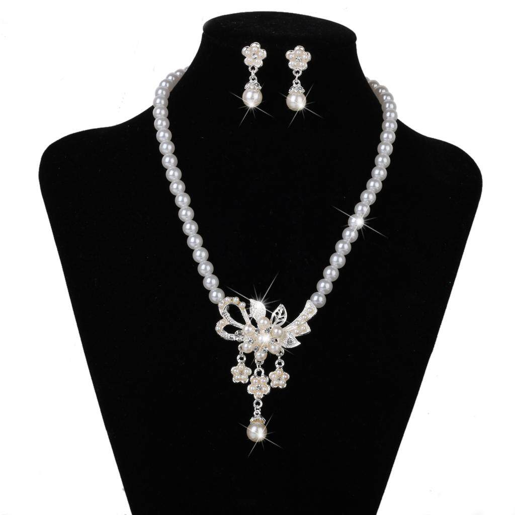 GuangquanStrade Wedding Bridal Party Jewelry Faux Pearls Crystal Necklace Dangle Earring Set