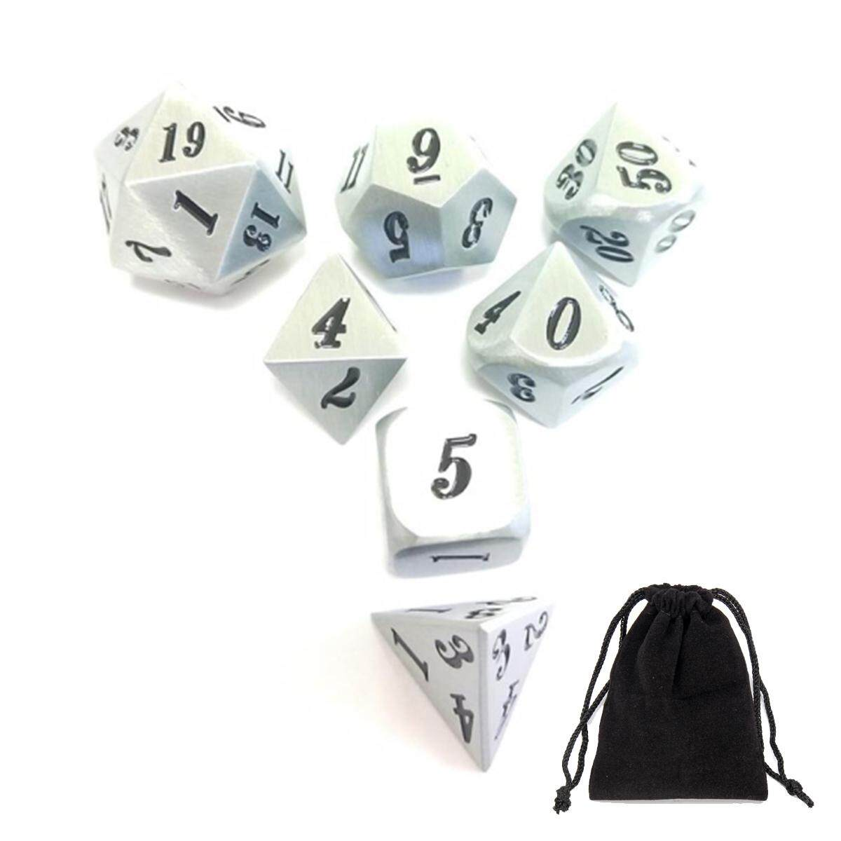 7Pcs/set Antique Metal Polyhedral Dice DND RPG MTG Role Playing Game With Bag