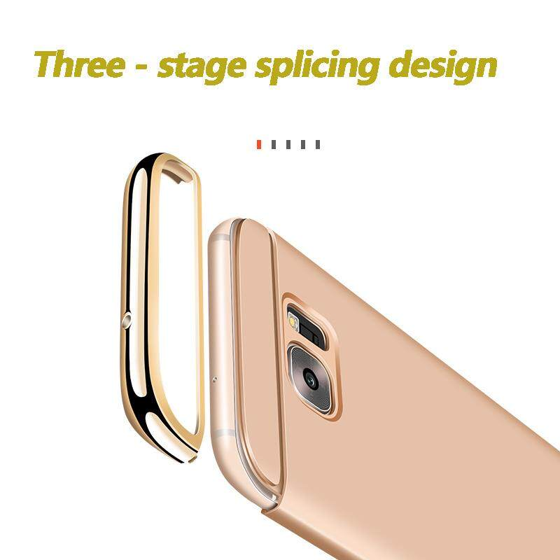 Fitur For Samsung Galaxy C9 Pro Case Gold Plating Armor Hard Back