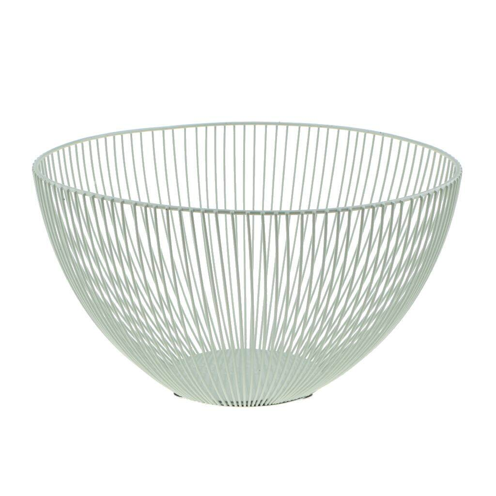 BolehDeals Metal Wire Fruit Basket Bowl Food Serving Bowl Candy Biscuit Snack Tray Deep Bowl 9x6inch