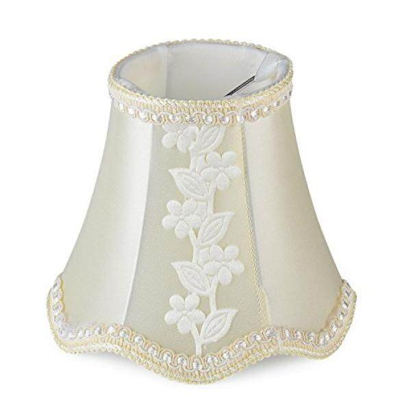 Cleeacc Wave Design Lamp Shade Handmade Fabric Classic Style Lampshade Small Clip On for Table Lamp Chandelier Candle Wall Unique Lamp Cover Cloth (3x5x4.7in) Lighting Accessories Beige Flower