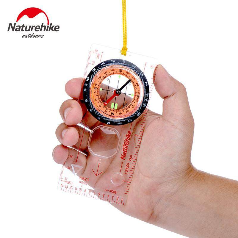 Naturehike Outdooors Hand Held Compass Light Level Camping Directional Base Plate Ruler Map Scale By Freebang.