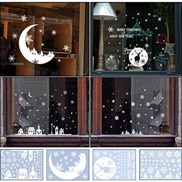 Shxstore Jendela Natal Dekorasi Menempel Stiker Kaca Stiker Kepingan Salju Istana Bulan Rusa Pohon Natal untuk