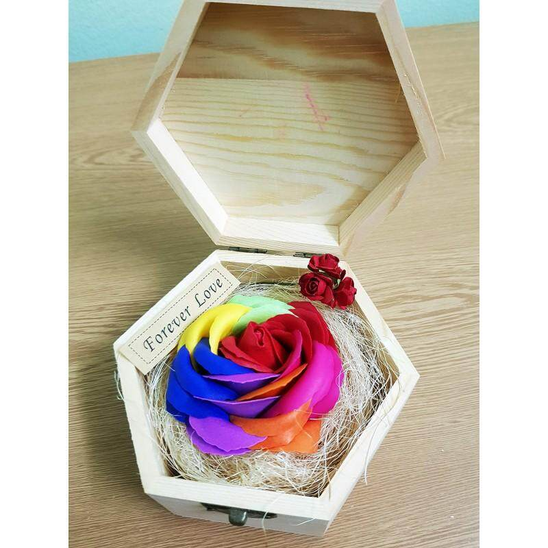 Red Colorful Rose In Wooden Box