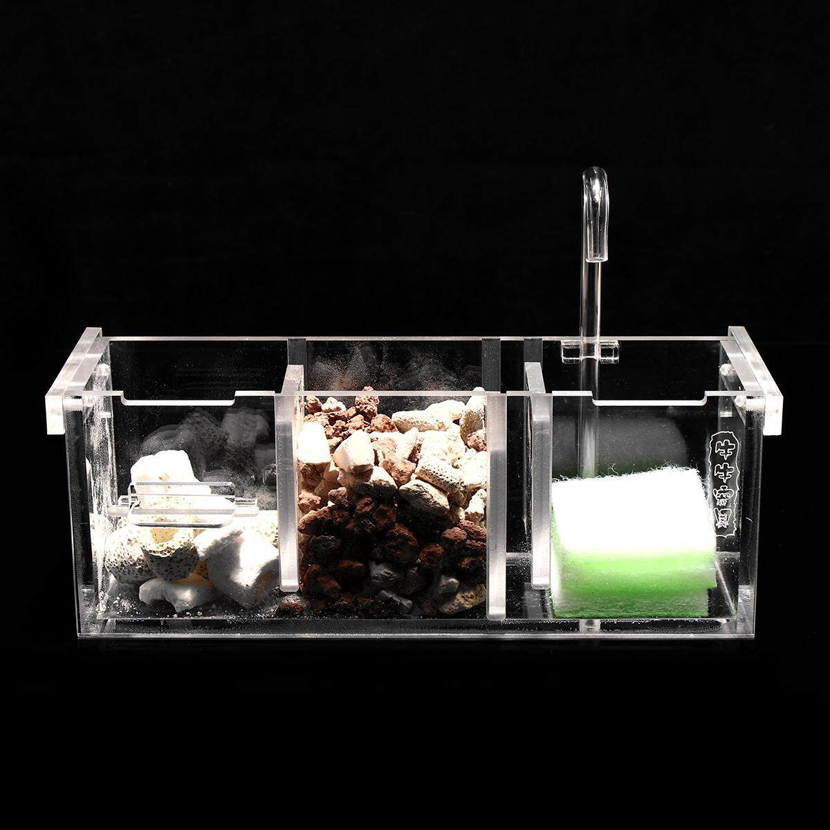 Acrylic Aquarium Fish Tank External Hang On Filter Box With Water Pump  3 Grids By Moonbeam.