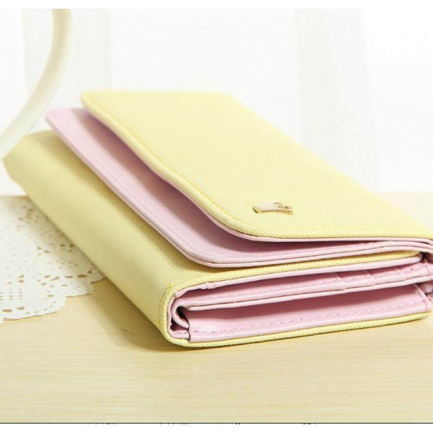 Korean Donbook Woman Long Folding Clutch Wallet Purse Card Leather