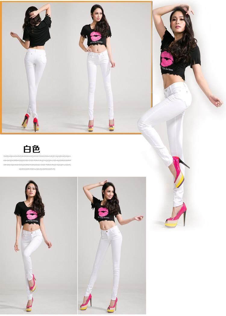 952703b61abe1 20 Colors Cotton Denim Pencil Pants Stretch Womens Jeans Skinny ...