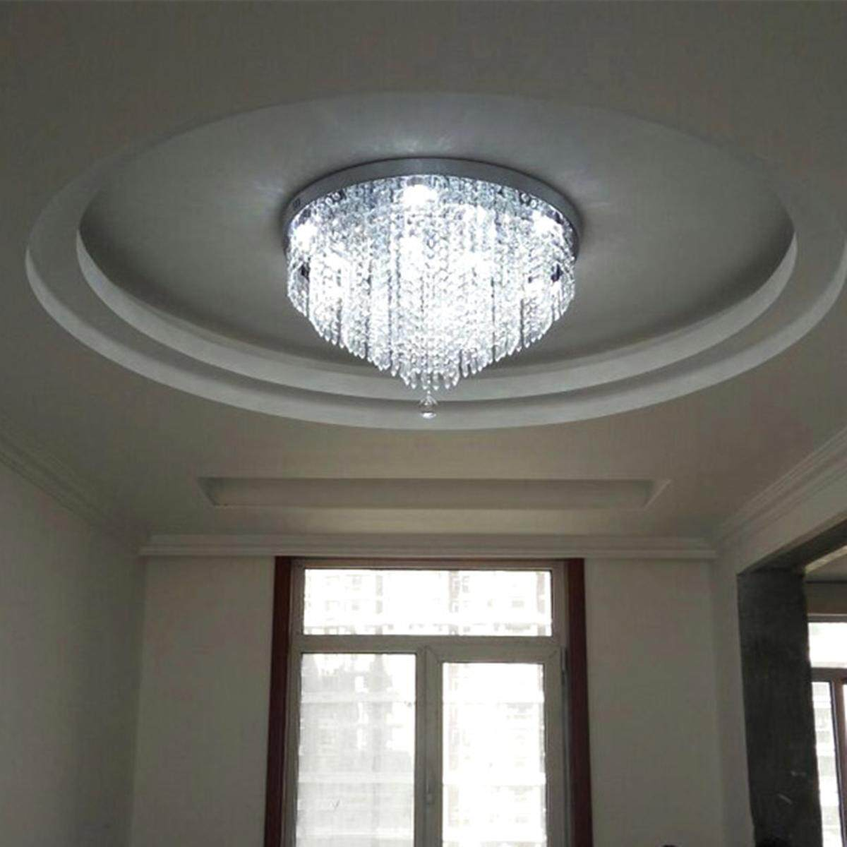 Elegant Chandelier Crystal Lamp Light Ceiling Pendant Mount Fixture Home Decor#White Light