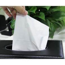 Dolity PU Leather Tissue Box Cover Case Room Car Napkin Toilet Paper Holder Black