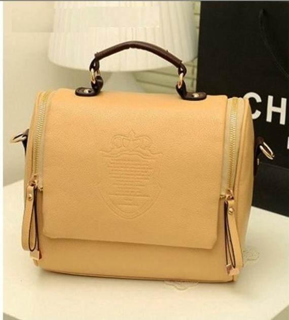 Kingdom Crown PU Leather Women Briefcase Style Handbag Shoulder Bag Light Brown