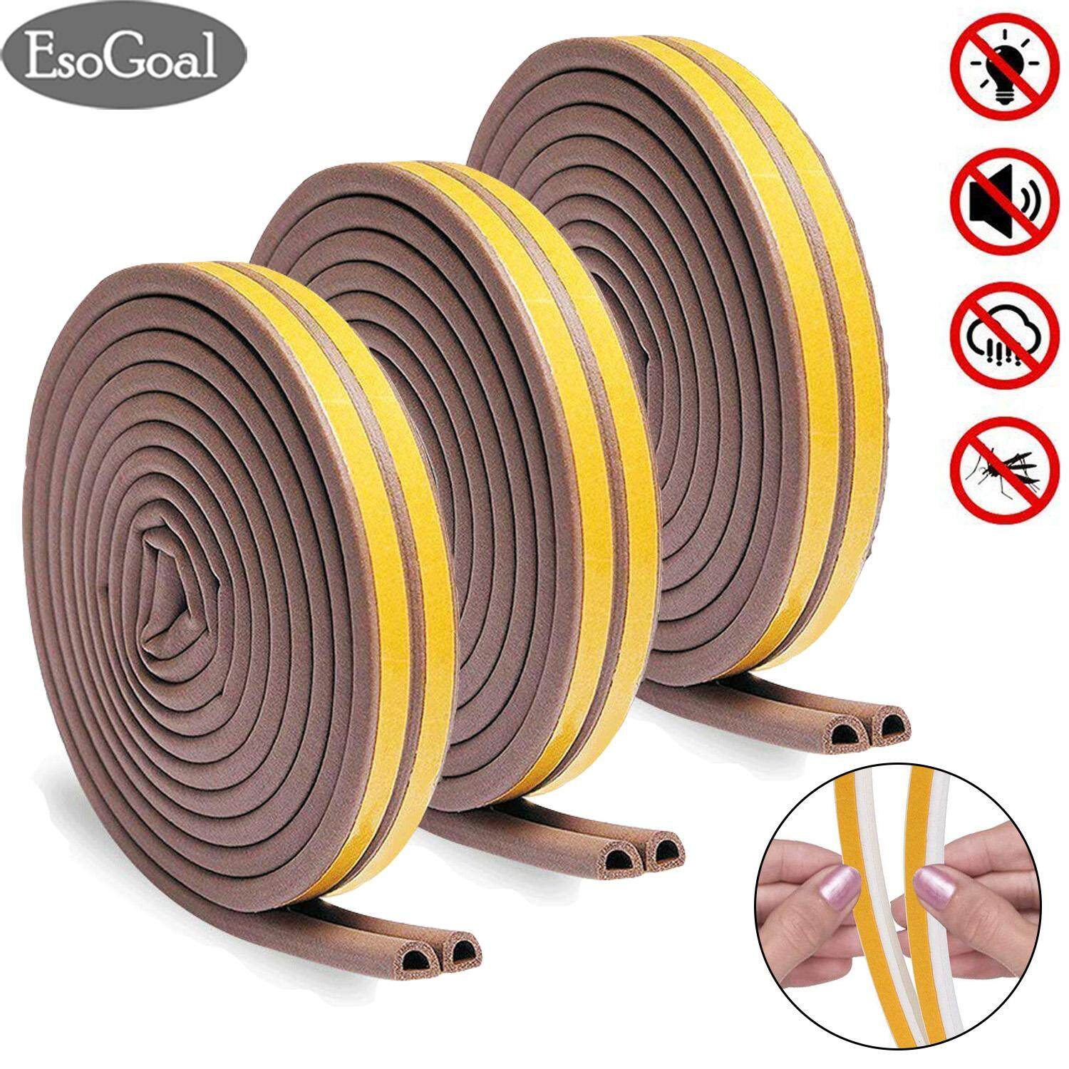Esogoal Soundproof Self-Adhesive Seal Strip Frame Side Draft Stopper Waterproof Anti-Collision Weatherstrip Gap Blocker Indoor Weather Stripping Rubber For Doors Windows By Esogoal.