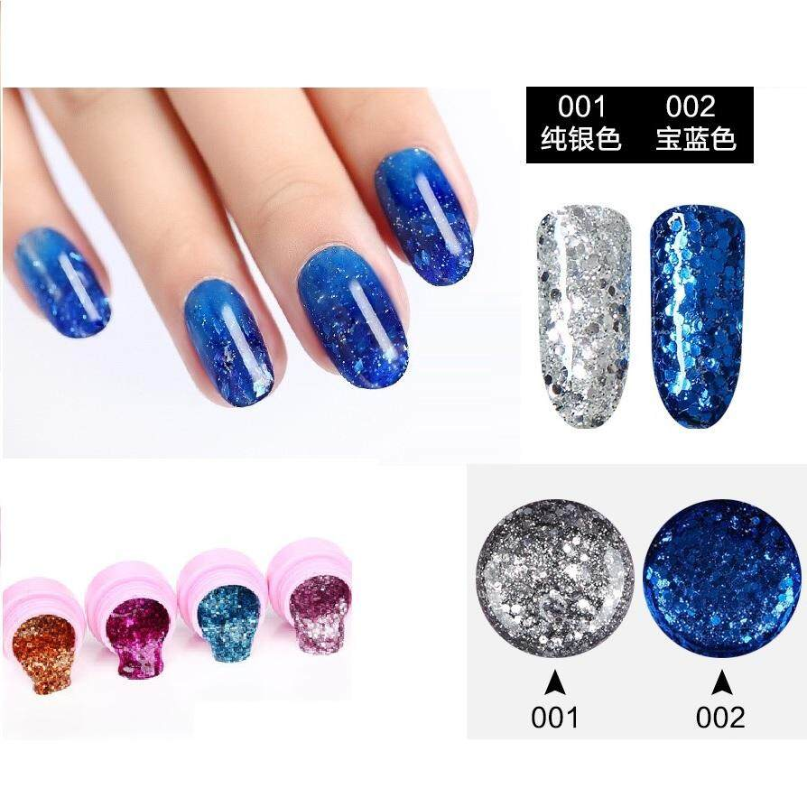 2 Pots of Attractive Colors Glitter UV Gel Builder Nail Art Polish