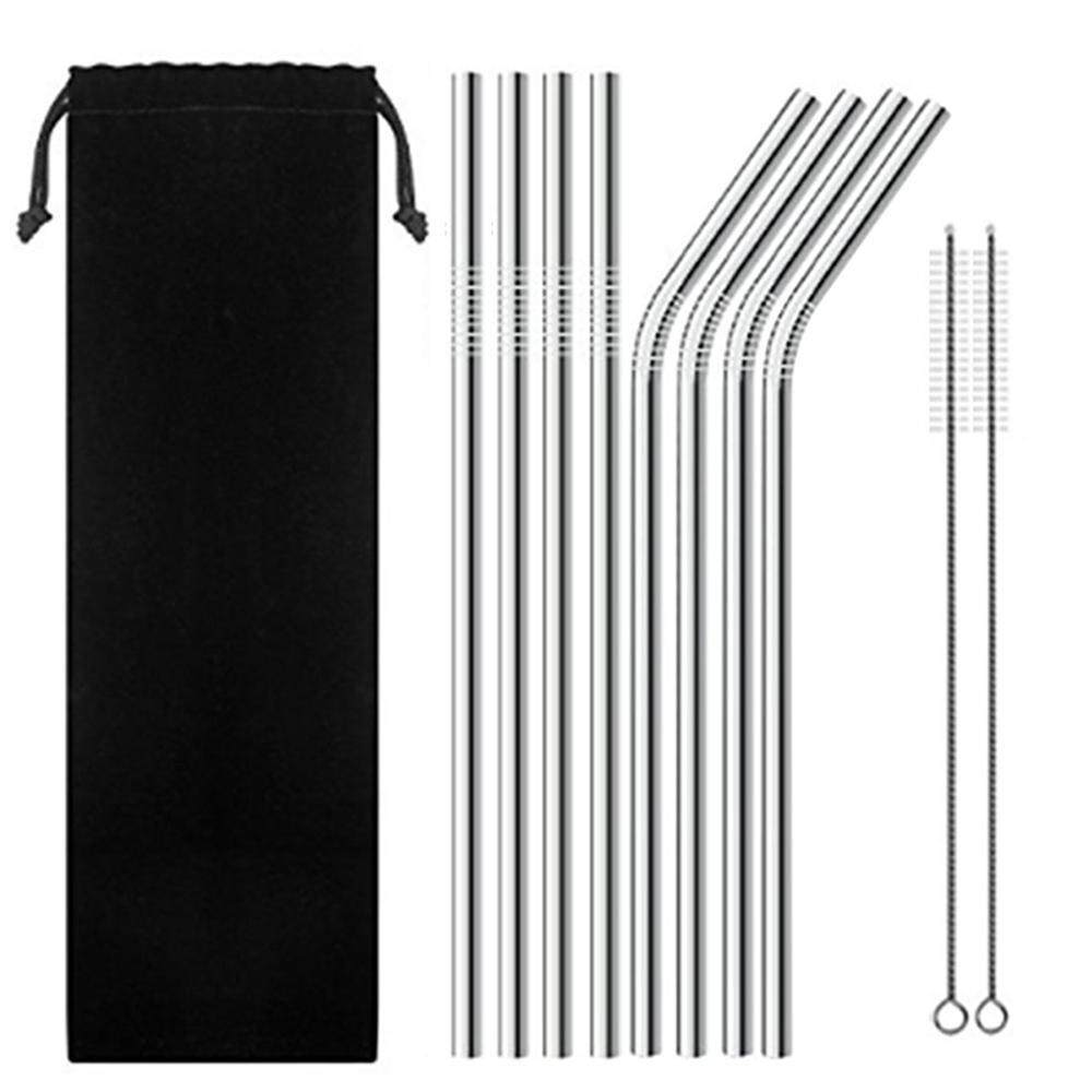 Teepao Stainless Steel Straws, Reusable 8Pcs Metal Drinking Straws With 2 Cleaning Brush And Carry Bag For Cocktail, Smoothie, Hot Drinks, Yeti RTIC Tumbler Rambler Cups