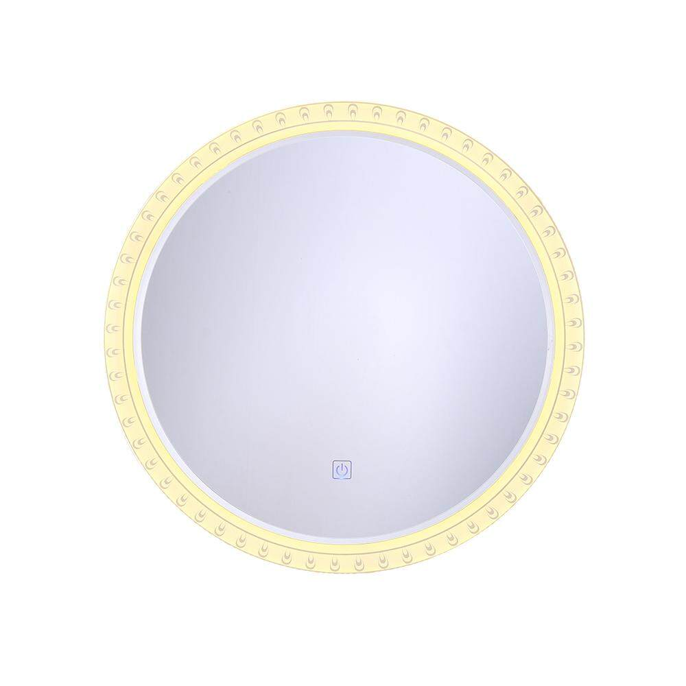 MumoLight Mirror Bathroom Types 520mm Round Shape Elegant Pattern Edge Design Touch Dimmable