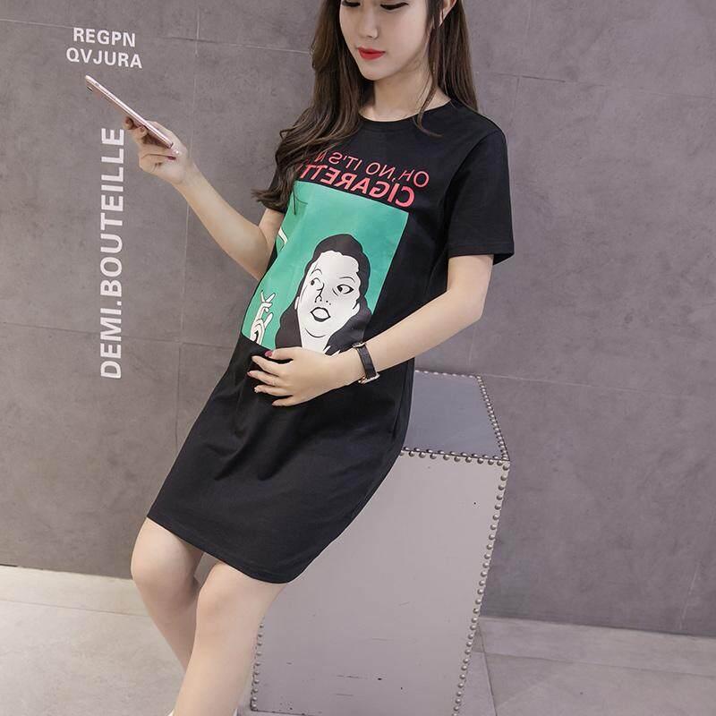 เสื้อยืดเกาหลีเสื้อยาวหลวมหญิงตั้งครรภ์.