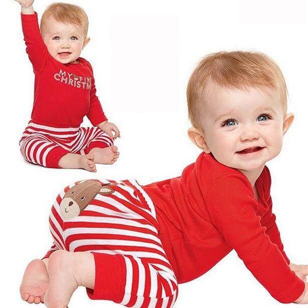 Bayi Perempuan Baru Lahir Anak Laki-laki Pertama Baju Anak Natal Atasan Pakaian Celana Panjang Set Pakaian-Intl