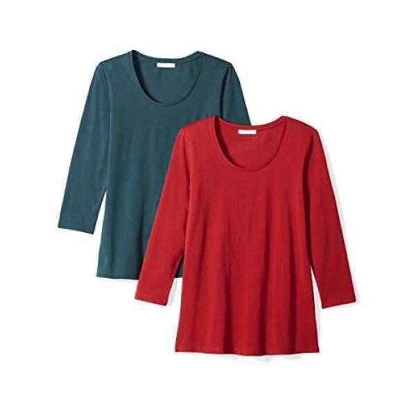 Ritual Sehari-hari Perempuan Peregangan Supima 3/4 Lengan Scoop Neck T-shirt