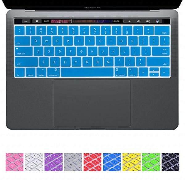 Keyboard Kulit Dhz Sarung Papan Ketik Silikon Kulit untuk Apple 2016 Baru MAC Buku Pro 13 15 Inci Tampilan Retina dengan Bar Sentuhan (2016 Rilis) (Tidak Cocok Tidak Touch Bar Versi) Tata Letak-Biru Muda-Intl