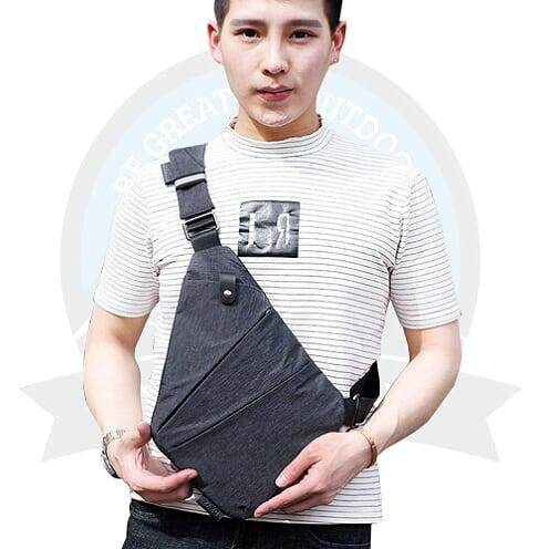 [LOCAL DELIVERY ] Anti Theft Sling Bag Water Resistant Slim Sling Chest Shoulder Crossbody Bag-Grey