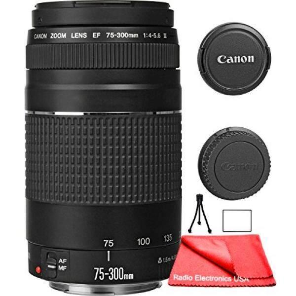 Canon EF 75-300 Mm F/4-5.6 III Lensa Variabel untuk Canon EOS 7D, 60D, EOS Rebel SL1, T1i, T2i, T3, T3i, T4i, T5i, XS, XSI, xt, Xti Digital Kamera SLR + Radio Elektronik Amerika Serikat Pembersih Fiber Mikro Kain-Intl