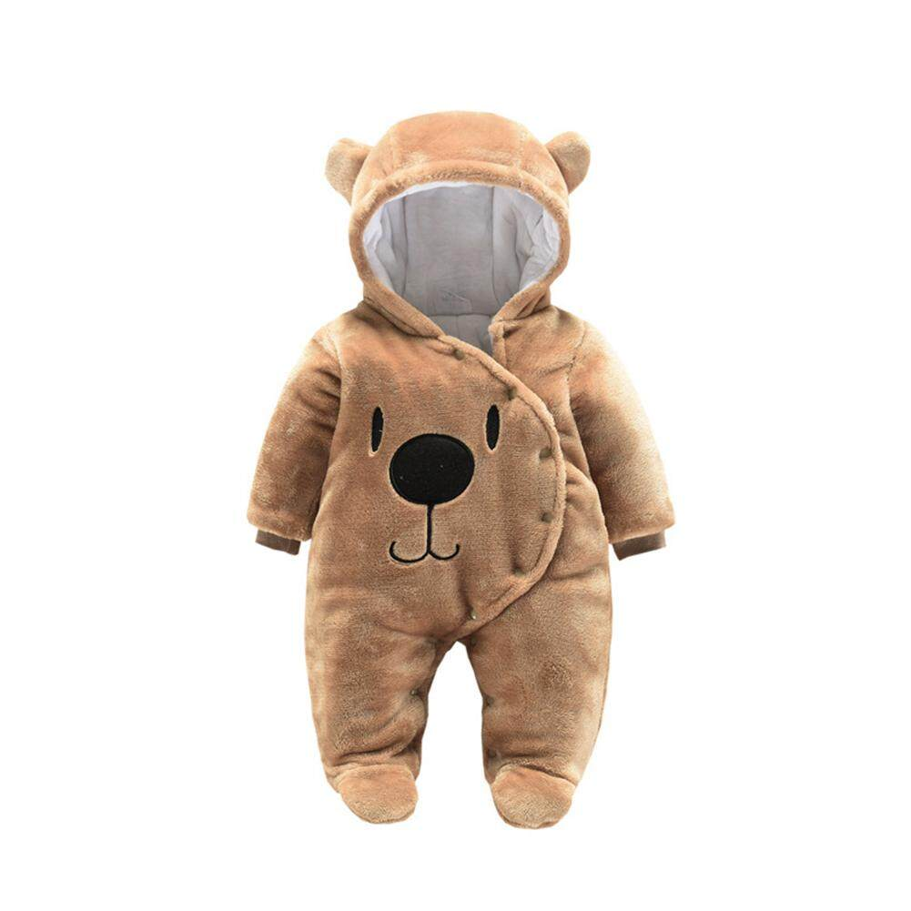 Rd Baby Unisex Cute Cartoon Jumpsuit Thicken Flannel Rompers Warm Hooded Clothes By Redcolourful.