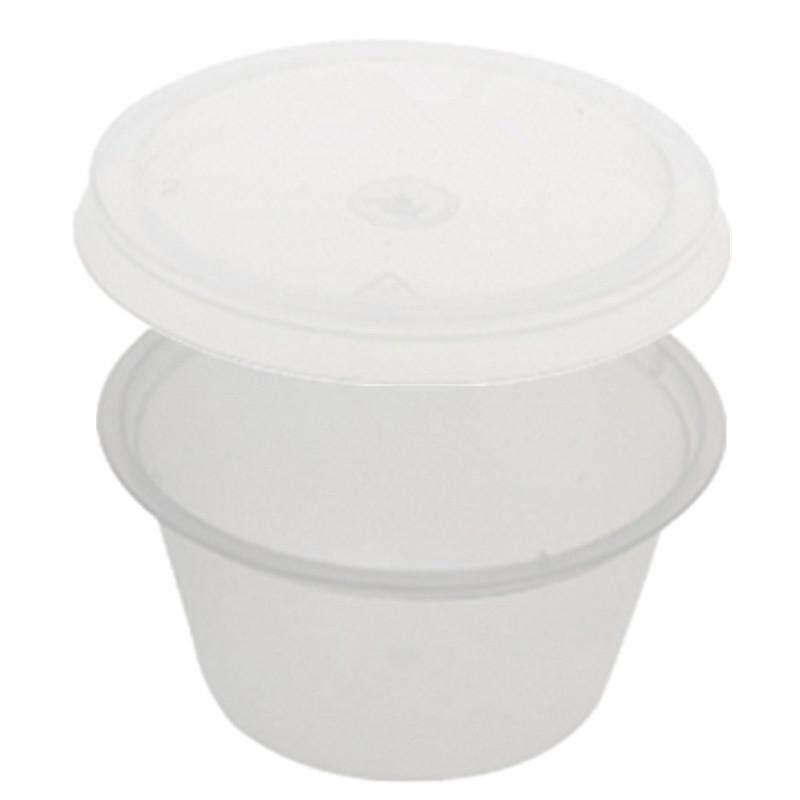 50ml PP Microwavable Round Containers With Lids Clear 10pcs